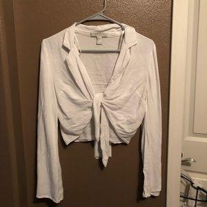 White cross tie crop top.